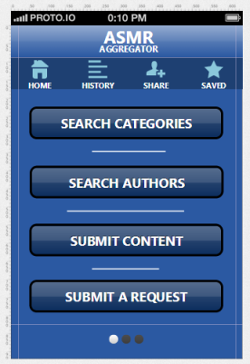 ASMR App Image - Homescreen